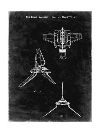 PP100-Black Grunge Star Wars Lambda Class T-4a Imperial Shuttle Patent Poster