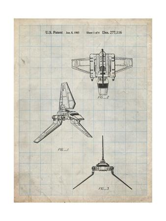 PP100-Antique Grid Parchment Star Wars Lambda Class T-4a Imperial Shuttle Patent Poster
