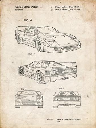 PP108-Vintage Parchment Ferrari 1990 F40 Patent Poster