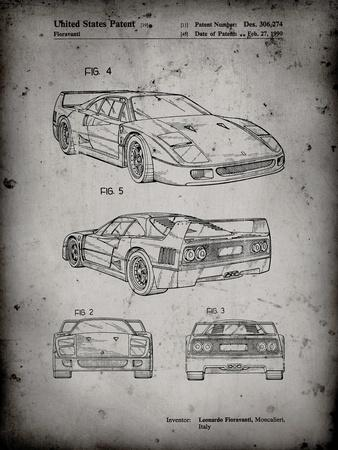 PP108-Faded Grey Ferrari 1990 F40 Patent Poster