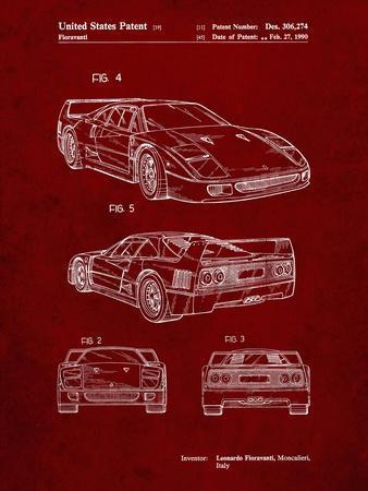 PP108-Burgundy Ferrari 1990 F40 Patent Poster