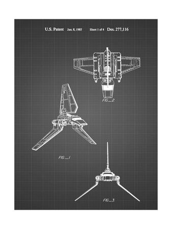 PP100-Black Grid Star Wars Lambda Class T-4a Imperial Shuttle Patent Poster