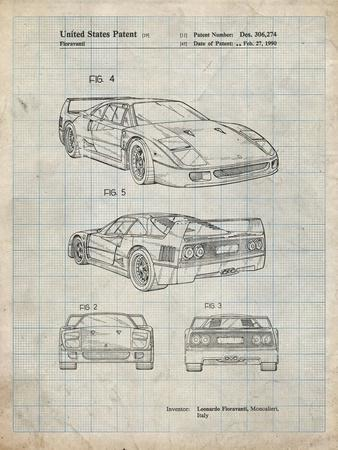 PP108-Antique Grid Parchment Ferrari 1990 F40 Patent Poster