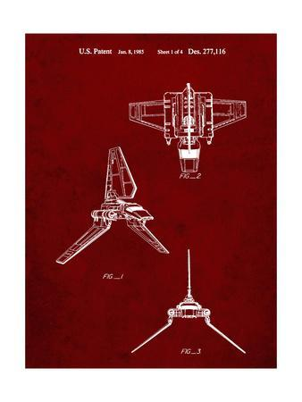 PP100-Burgundy Star Wars Lambda Class T-4a Imperial Shuttle Patent Poster