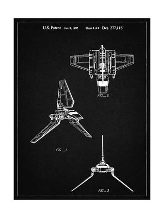 PP100-Vintage Black Star Wars Lambda Class T-4a Imperial Shuttle Patent Poster