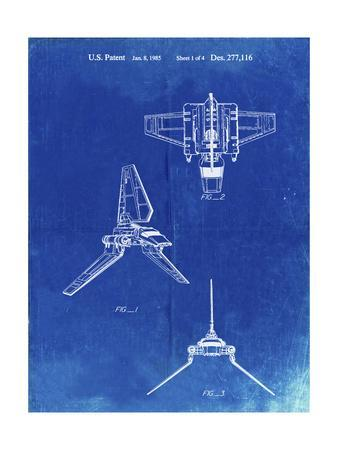 PP100-Faded Blueprint Star Wars Lambda Class T-4a Imperial Shuttle Patent Poster