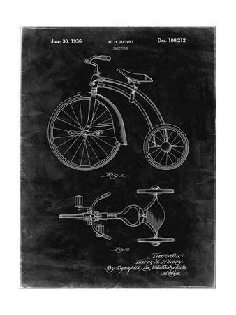 PP1114-Black Grunge Tricycle Patent Poster