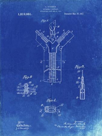 PP1143-Faded Blueprint Zipper 1917 Patent Poster