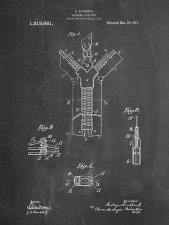 PP1143-Chalkboard Zipper 1917 Patent Poster