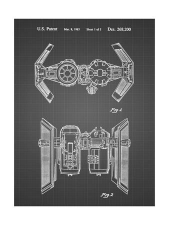 PP102-Black Grid Star Wars TIE Bomber Patent Poster