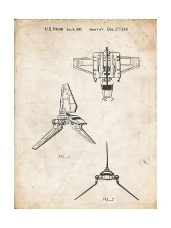 PP100-Vintage Parchment Star Wars Lambda Class T-4a Imperial Shuttle Patent Poster