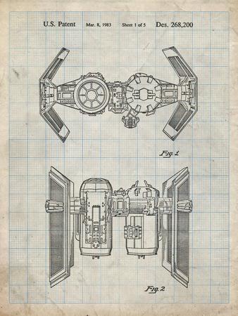 PP102-Antique Grid Parchment Star Wars TIE Bomber Patent Poster