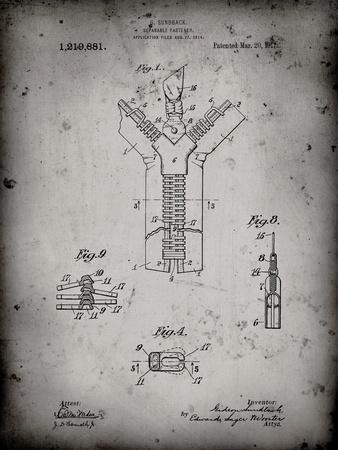 PP1143-Faded Grey Zipper 1917 Patent Poster
