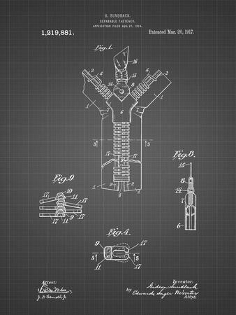 PP1143-Black Grid Zipper 1917 Patent Poster