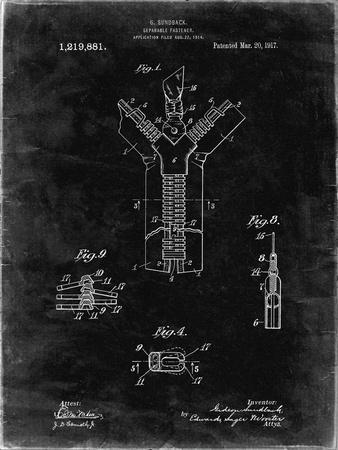 PP1143-Black Grunge Zipper 1917 Patent Poster