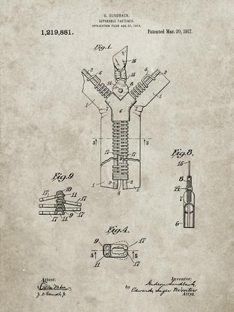PP1143-Sandstone Zipper 1917 Patent Poster