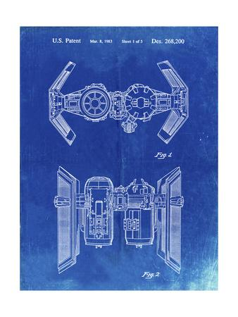 PP102-Faded Blueprint Star Wars TIE Bomber Patent Poster