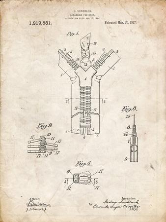 PP1143-Vintage Parchment Zipper 1917 Patent Poster