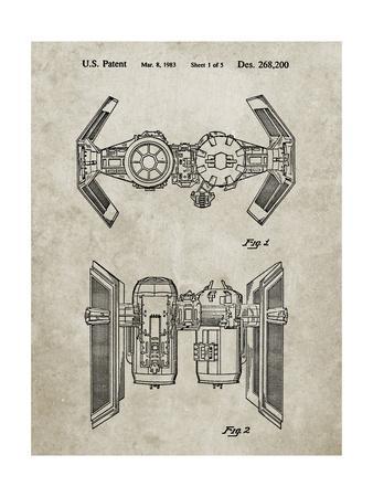 PP102-Sandstone Star Wars TIE Bomber Patent Poster