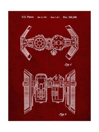 PP102-Burgundy Star Wars TIE Bomber Patent Poster