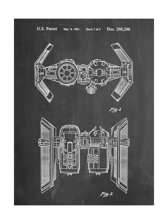 PP102-Chalkboard Star Wars TIE Bomber Patent Poster