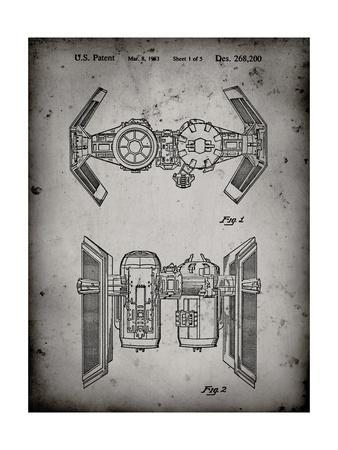 PP102-Faded Grey Star Wars TIE Bomber Patent Poster