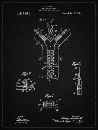 PP1143-Vintage Black Zipper 1917 Patent Poster
