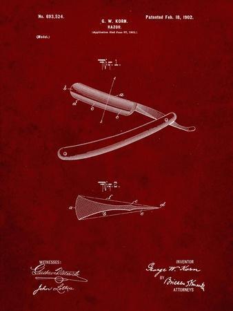 PP1178-Burgundy Straight Razor Patent Poster