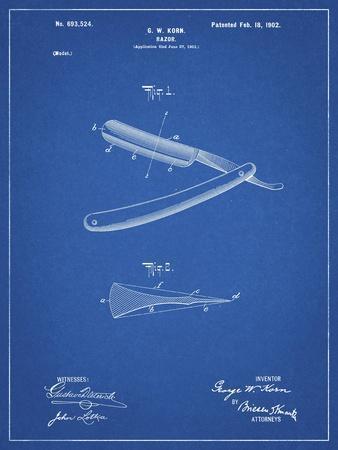 PP1178-Blueprint Straight Razor Patent Poster