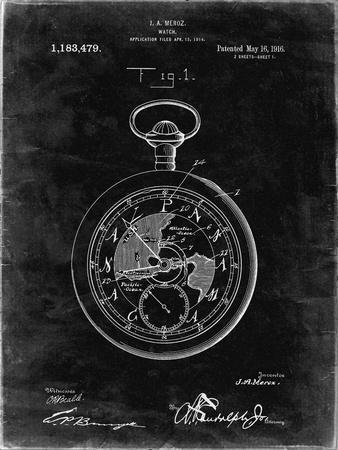 PP112-Black Grunge U.S. Watch Co. Pocket Watch Patent Poster