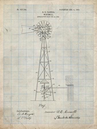 PP1137-Antique Grid Parchment Windmill 1906 Patent Poster
