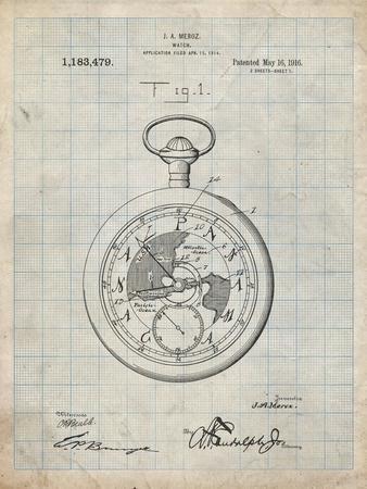 PP112-Antique Grid Parchment U.S. Watch Co. Pocket Watch Patent Poster