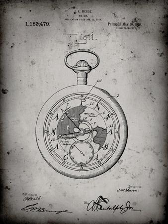 PP112-Faded Grey U.S. Watch Co. Pocket Watch Patent Poster