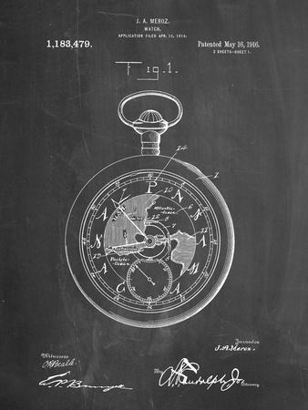 PP112-Chalkboard U.S. Watch Co. Pocket Watch Patent Poster