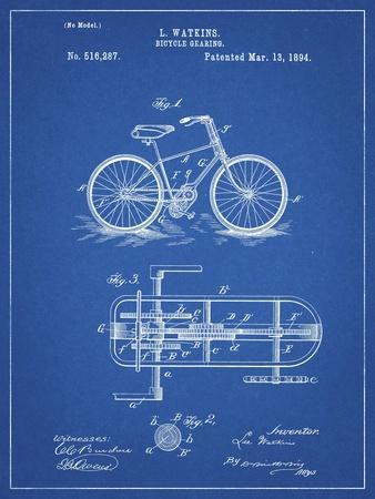 PP51-Blueprint Bicycle Gearing 1894 Patent Poster
