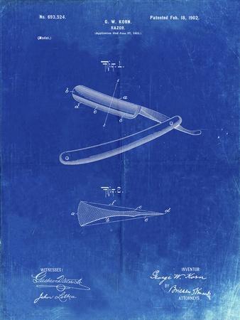 PP1178-Faded Blueprint Straight Razor Patent Poster
