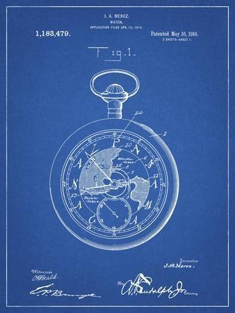 PP112-Blueprint U.S. Watch Co. Pocket Watch Patent Poster