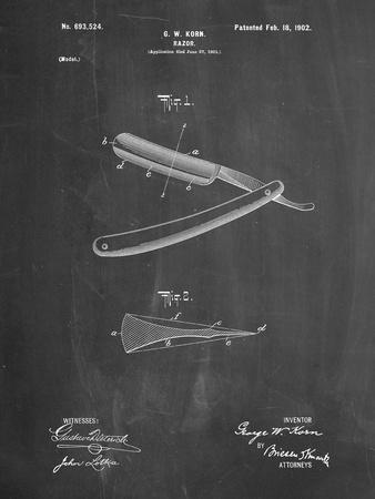 PP1178-Chalkboard Straight Razor Patent Poster