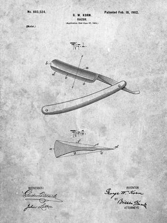 PP1178-Slate Straight Razor Patent Poster
