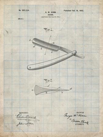 PP1178-Antique Grid Parchment Straight Razor Patent Poster