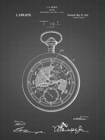 PP112-Black Grid U.S. Watch Co. Pocket Watch Patent Poster