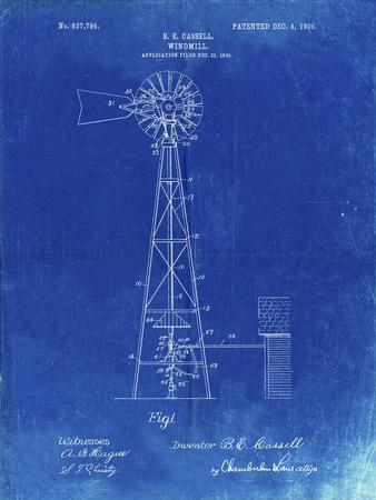 PP1137-Faded Blueprint Windmill 1906 Patent Poster