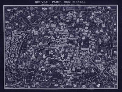 1920 Pocket Map of Paris Blueprint style