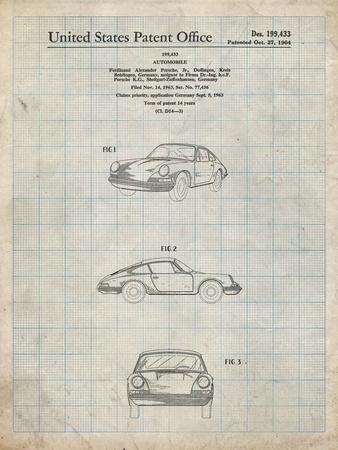 PP144- Antique Grid Parchment 1964 Porsche 911  Patent Poster