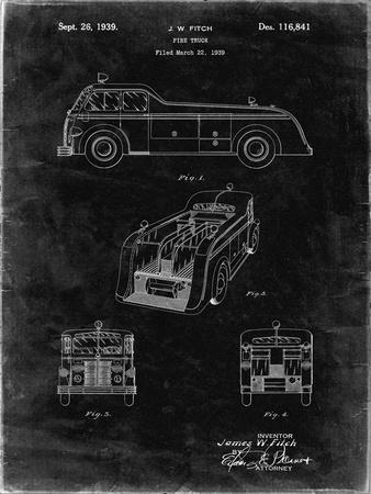 PP128- Black Grunge Firetruck 1939 Patent Poster