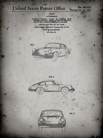 PP144- Faded Grey 1964 Porsche 911  Patent Poster