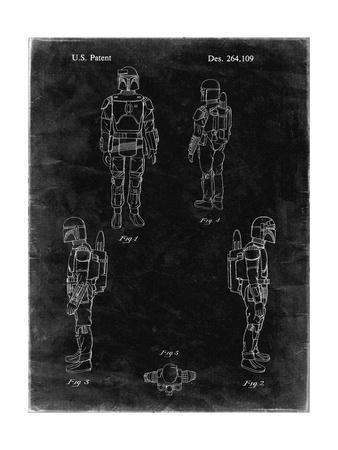PP145- Black grunge Star Wars Boba Fett 4 Image Patent Poster