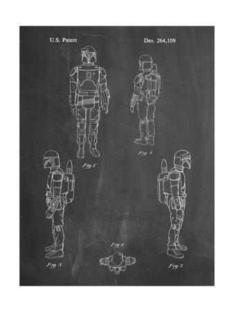 PP145- Chalkboard Star Wars Boba Fett 4 Image Patent Poster