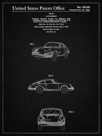 PP144- Vintage Black 1964 Porsche 911  Patent Poster