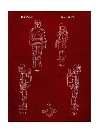 PP145- Burgundy Star Wars Boba Fett 4 Image Patent Poster